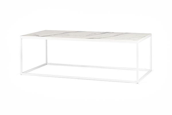 FOREST Baltas kavos staliukas ilgas Balto-marmuro-imitacijos-stalvirsis