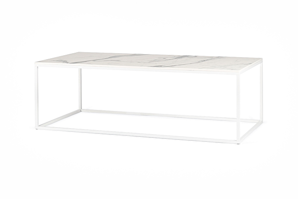 FOREST White coffee table long White-marblelook-tabletop