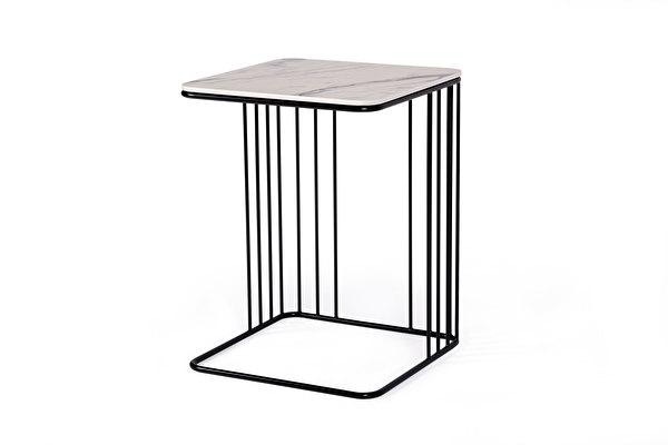 ELEGANS Sofa Beistelltisch Weisser-marmoroptik-tischplatte