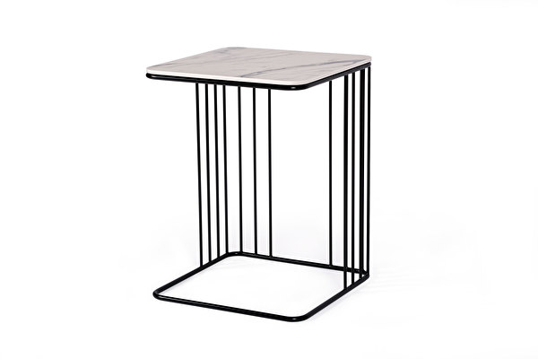 ELEGANS Sofa Side table White-marblelook-tabletop