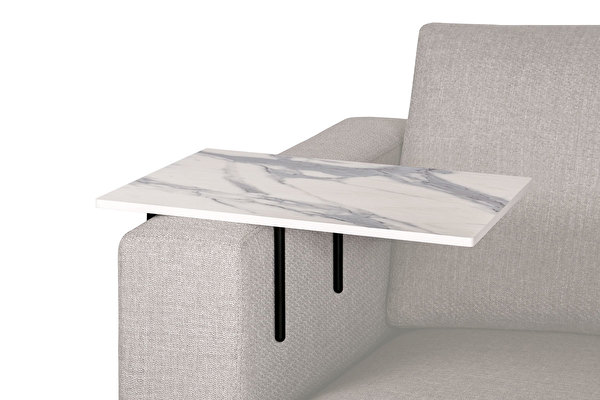 HELPER Sofa Side table Large White-marblelook-tabletop