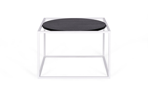 FOREST Round White Coffee table Black-oak