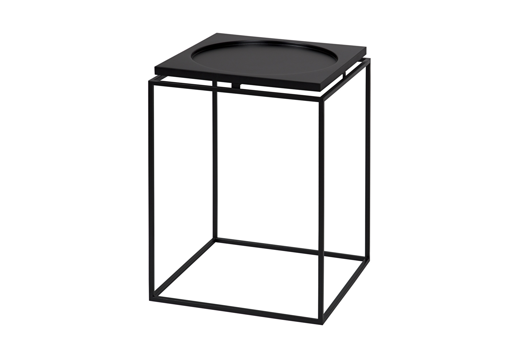 SIDE TABLE CIRCLE IN SQUARE Black