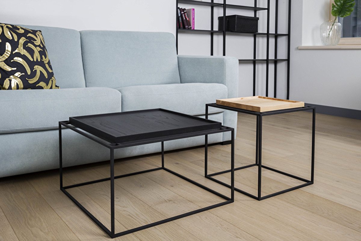 Metal and wood coffee table tray try combining the tray coffee table with the tray side table for an ultra modern dcor statement either in matching colours or several different geotapseo Images