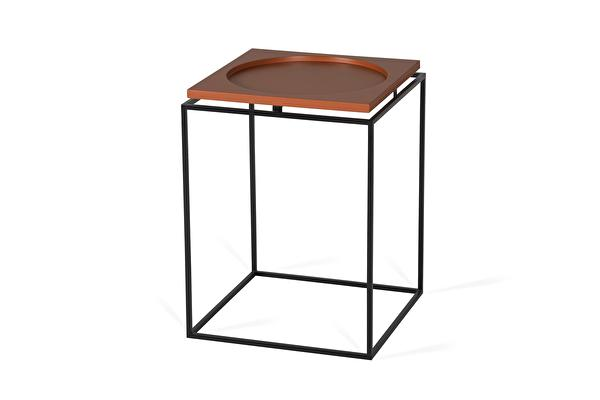 CIRCLE IN SQUARE Side table Terracotta